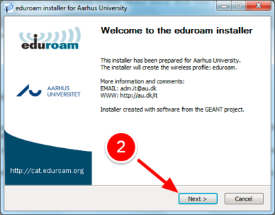 Viser installationsvejledning til Eduroam for windows
